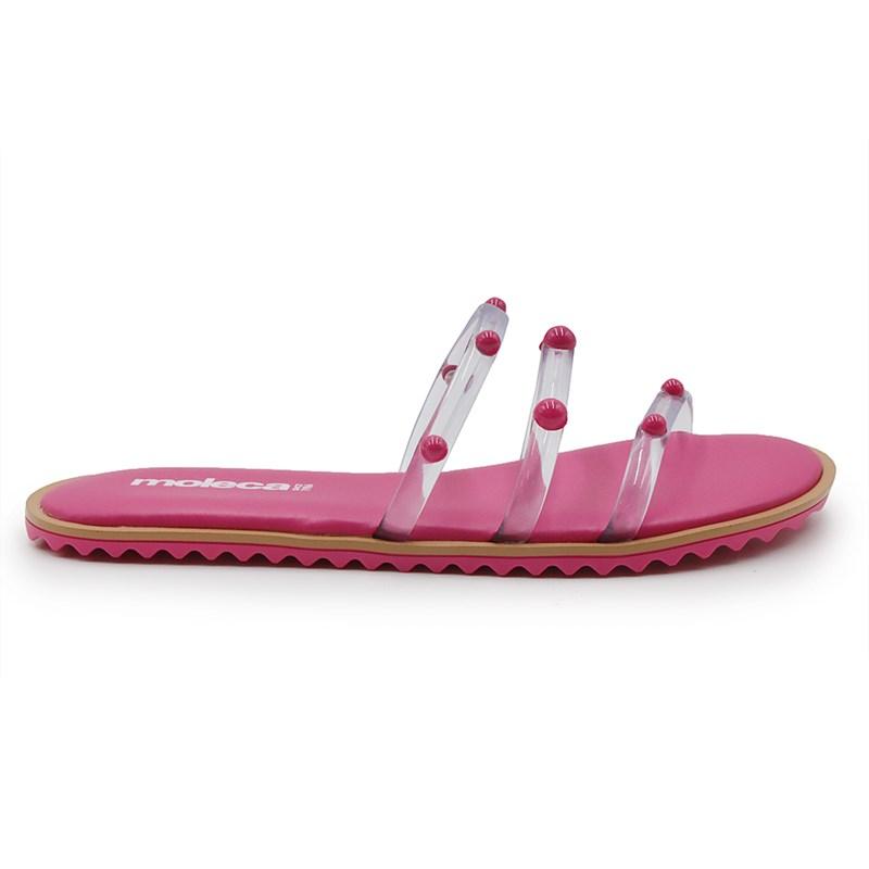 Chinelo Rasteira Moleca Transparente/Pink - 242377