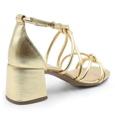 Sandalia Feminina Alme Metal/Ouro - 222099