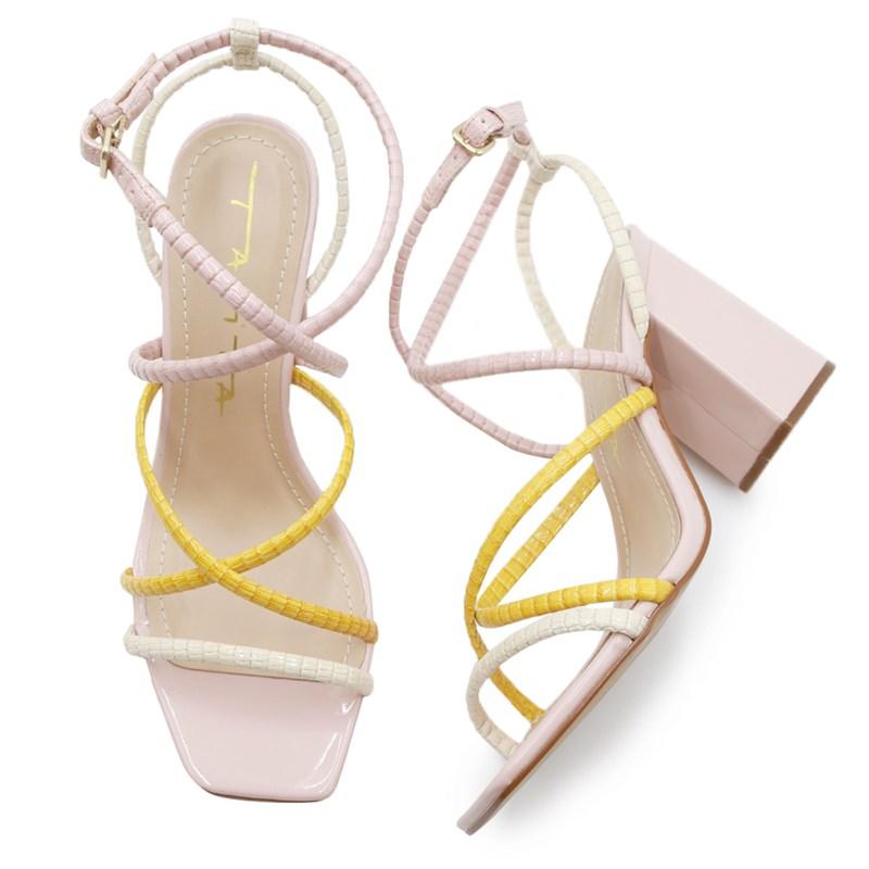 Sandalia Feminina Tabita Off White/Yellow - 239435