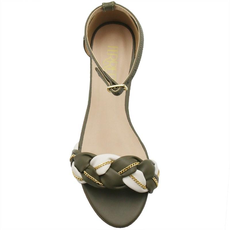 Sandalia Ferrete Feminina Army/Off White - 243809