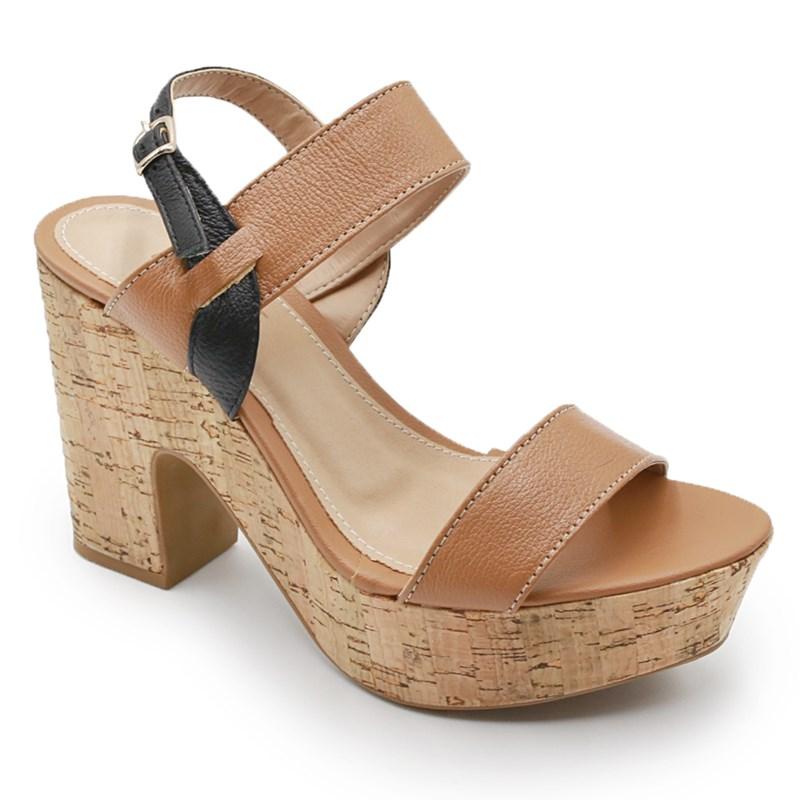 Sandalia Plataforma Ferrette Bege/Preto - 242095