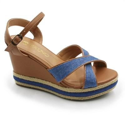 Sandalia Plataforma Via Uno Feminina Jeans/Tan - 243777