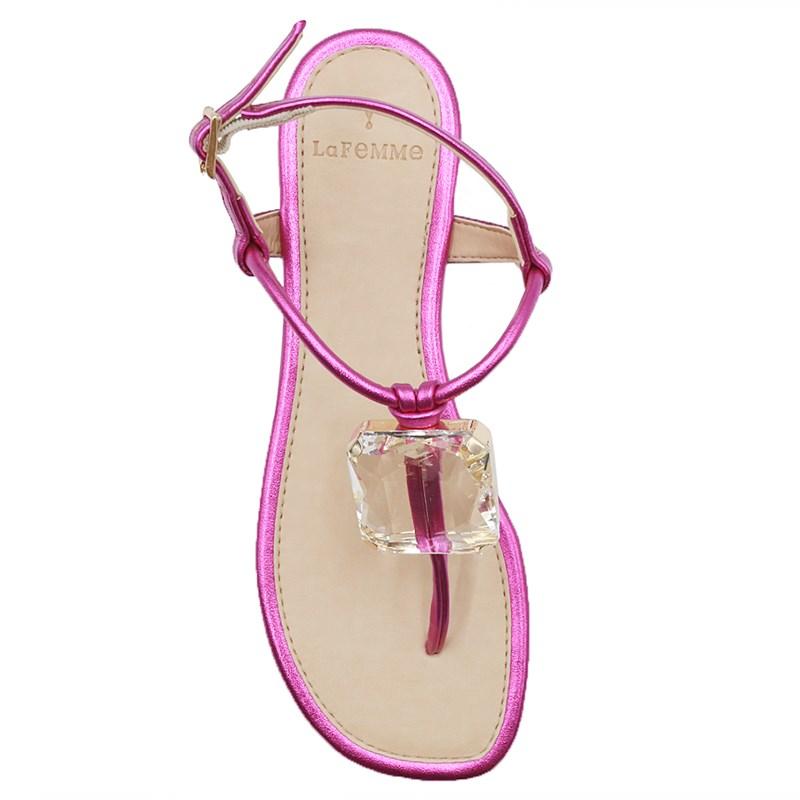 Sandalia Rasteira La Femme Pink/Cristal - 239149