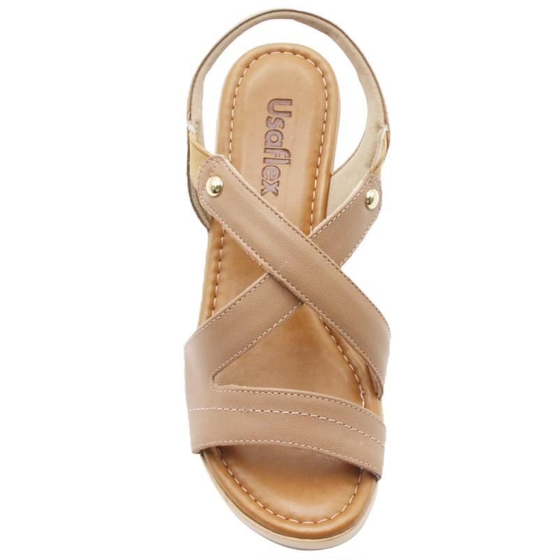 Sandalia Usaflex Feminina Camel - 242086