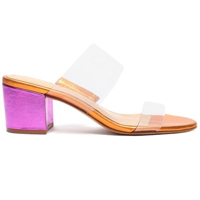 Tamanco Feminino Schutz Transparente/Orange - 241372