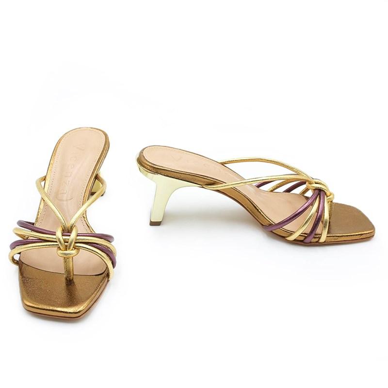 Tamanco Feminino Vicenza Gold/Burgundy - 227655